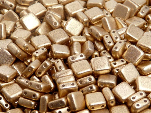 40 pcs 2-hole Tile Pressed Beads, 6x6x3mm, Aztec Gold (Crystal Bronze Pale Gold) (ab Grade), Czech Glass