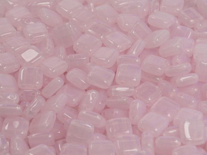 40 pcs 2-hole Tile Pressed Beads, 6x6x3mm, Pink Opal, Czech Glass
