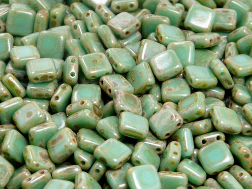 40 pcs 2-hole Tile Pressed Beads, 6x6x3mm, Opaque Turquoise Green Travertine Dark, Czech Glass
