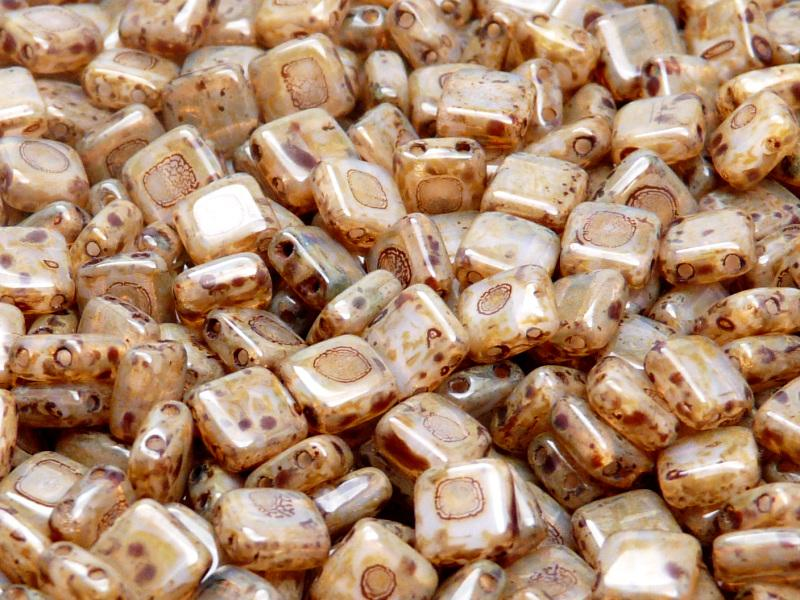 40 pcs 2-hole Tile Pressed Beads, 6x6x3mm, Pink Opal Travertine, Czech Glass