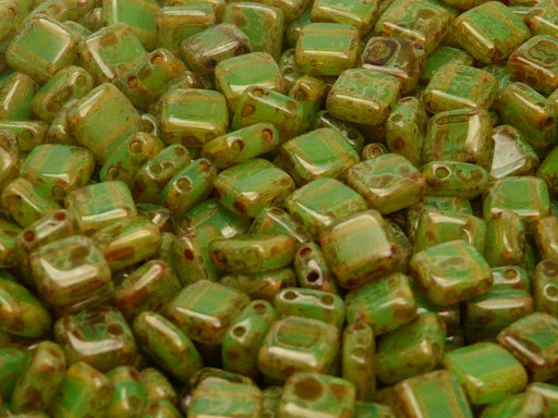 40 pcs 2-hole Tile Pressed Beads, 6x6x3mm, Green Opal Travertine, Czech Glass