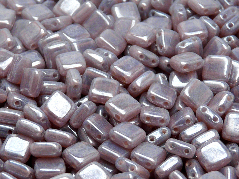 40 pcs 2-hole Tile Pressed Beads, 6x6x3mm, Violet Opal White Luster, Czech Glass