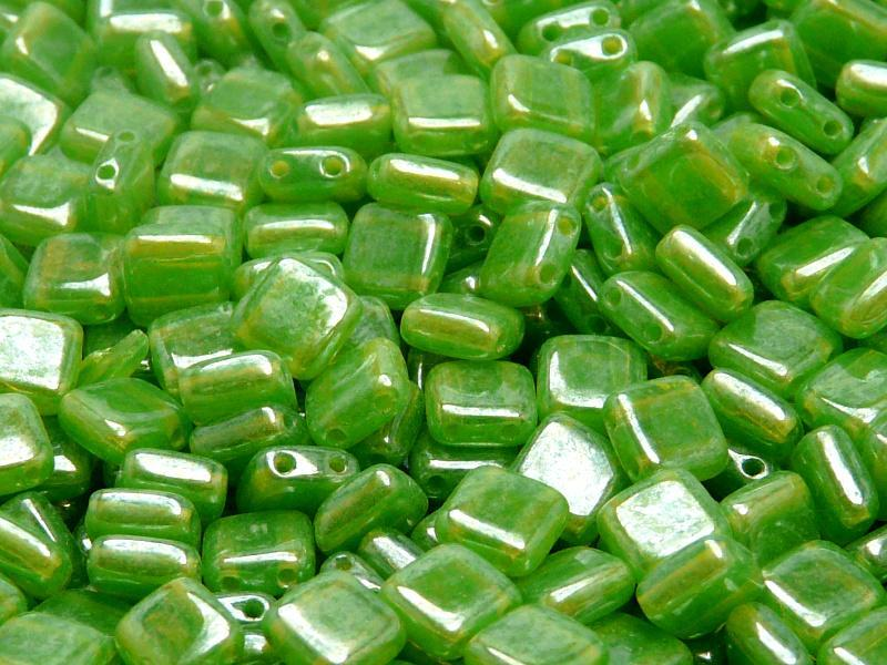 40 pcs 2-hole Tile Pressed Beads, 6x6x3mm, Green Opal White Luster, Czech Glass