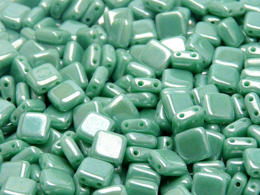 40 pcs 2-hole Tile Pressed Beads, 6x6x3mm, Opaque Turquoise Green White Luster, Czech Glass