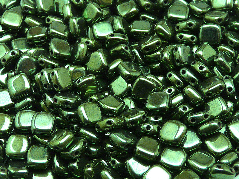 40 pcs 2-hole Tile Pressed Beads, 6x6x3mm, Jet Green Luster, Czech Glass