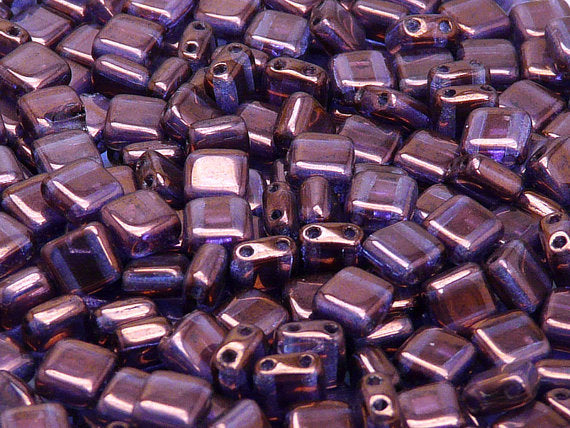 40 pcs 2-hole Tile Pressed Beads, 6x6x3mm, Crystal Vega Luster, Czech Glass