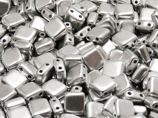 40 pcs 2-hole Tile Pressed Beads, 6x6x3mm, Silver Metallic Matte (ab Grade), Czech Glass