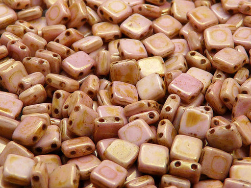 40 pcs 2-hole Tile Pressed Beads, 6x6x3mm, Chalk White Red Glaze, Czech Glass