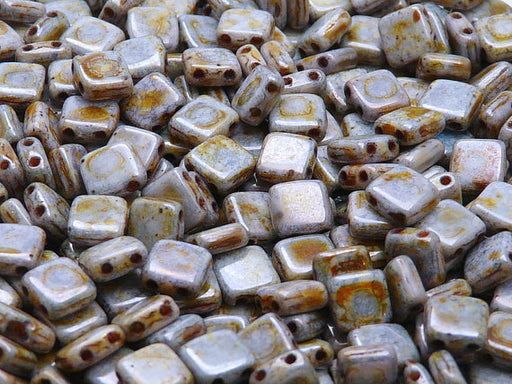 40 pcs 2-hole Tile Pressed Beads, 6x6x3mm, Chalk White Copper Senegal, Czech Glass