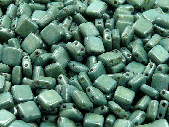 40 pcs 2-hole Tile Pressed Beads, 6x6x3mm, Chalk White Green Luster, Czech Glass