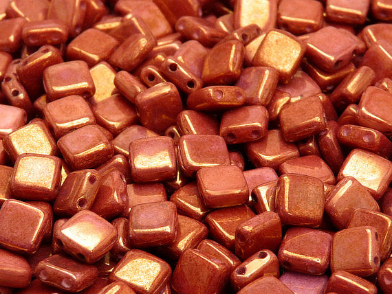40 pcs 2-hole Tile Pressed Beads, 6x6x3mm, Chalk White Red Luster, Czech Glass