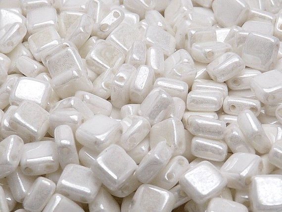 40 pcs 2-hole Tile Pressed Beads, 6x6x3mm, Chalk White Luster, Czech Glass