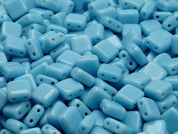 40 pcs 2-hole Tile Pressed Beads, 6x6x3mm, Opaque Turquoise Blue, Czech Glass
