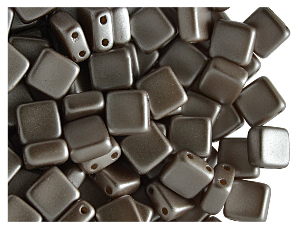 40 pcs 2-hole Tile Pressed Beads, 6x6x3mm, Pastel Light Brown/CoCo, Czech Glass
