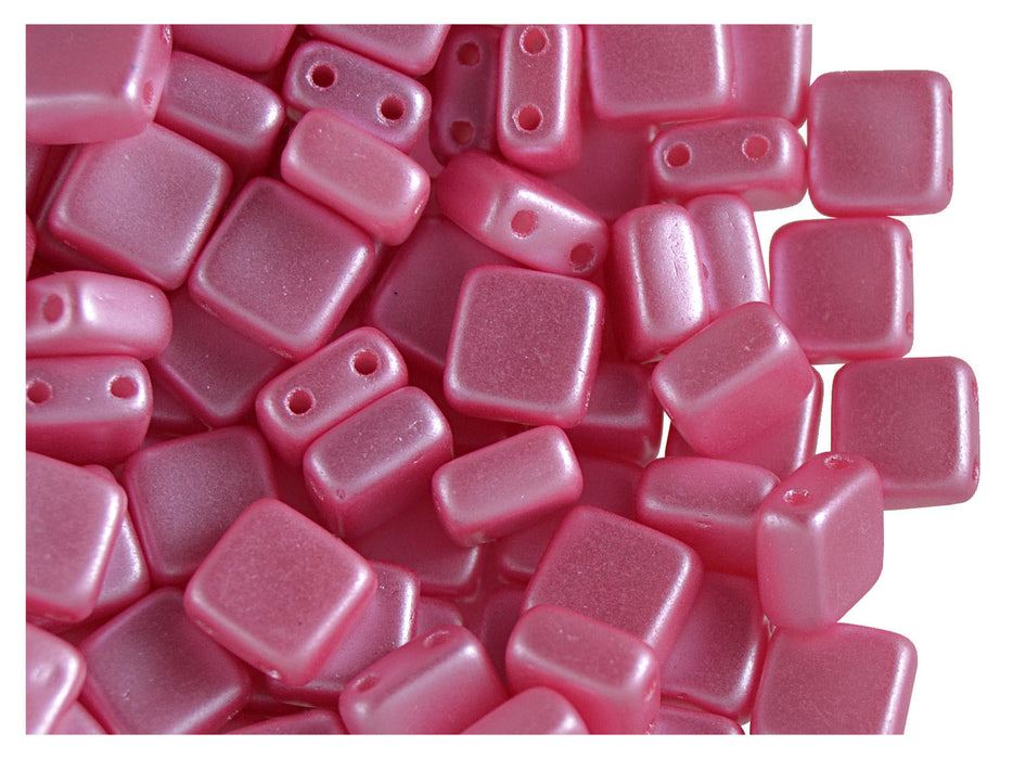 40 pcs 2-hole Tile Pressed Beads, 6x6x3mm, Pastel Pink, Czech Glass