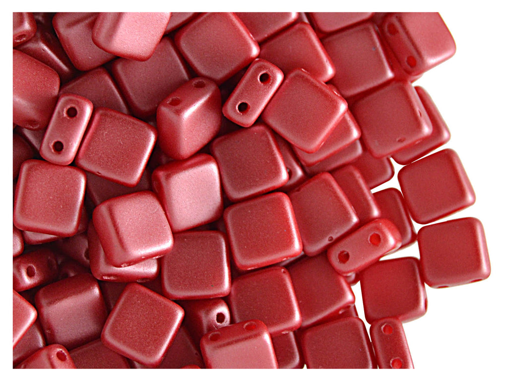 40 pcs 2-hole Tile Pressed Beads, 6x6x3mm, Pastel Dark Red Coral, Czech Glass
