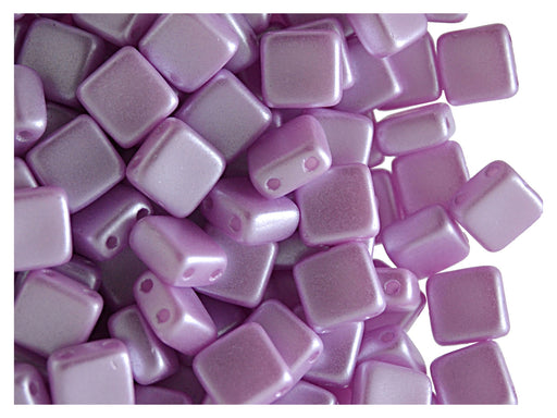40 pcs 2-hole Tile Pressed Beads, 6x6x3mm, Pastel Lilac, Czech Glass