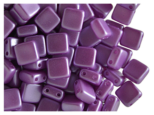 40 pcs 2-hole Tile Pressed Beads, 6x6x3mm, Pastel Dark Lilac, Czech Glass