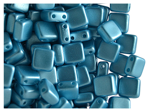 40 pcs 2-hole Tile Pressed Beads, 6x6x3mm, Pastel Aqua, Czech Glass