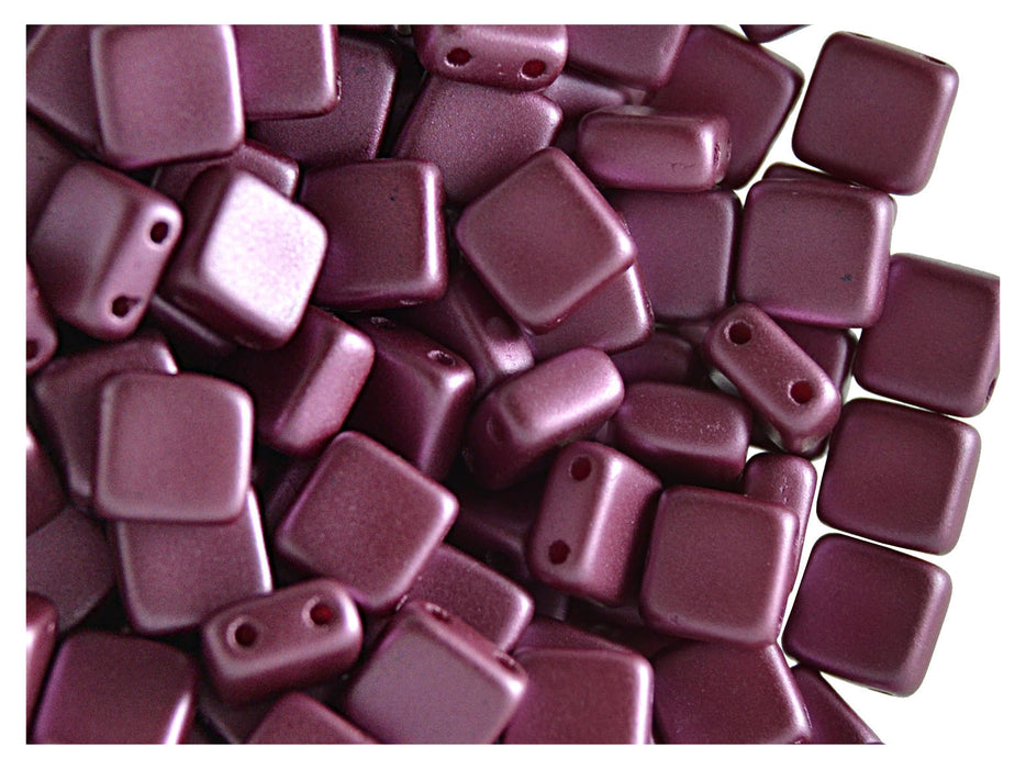 40 pcs 2-hole Tile Pressed Beads, 6x6x3mm, Pastel Burgundy, Czech Glass