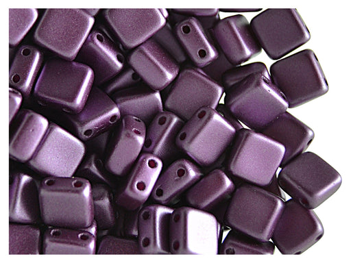 40 pcs 2-hole Tile Pressed Beads, 6x6x3mm, Pastel Bordeaux, Czech Glass