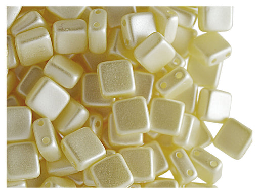 40 pcs 2-hole Tile Pressed Beads, 6x6x3mm, Pastel Cream, Czech Glass