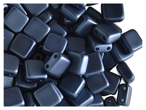 40 pcs 2-hole Tile Pressed Beads, 6x6x3mm, Pastel Montana Blue, Czech Glass