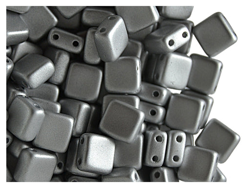 40 pcs 2-hole Tile Pressed Beads, 6x6x3mm, Terra Metallic Silver, Czech Glass