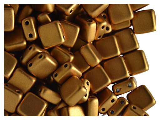 40 pcs 2-hole Tile Pressed Beads, 6x6x3mm, Terra Metallic Bronze, Czech Glass