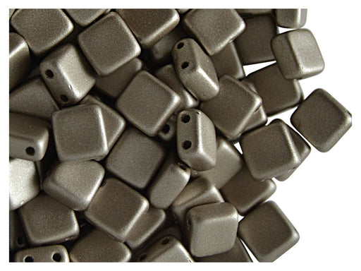 40 pcs 2-hole Tile Pressed Beads, 6x6x3mm, Terra Metallic Gray Brown, Czech Glass