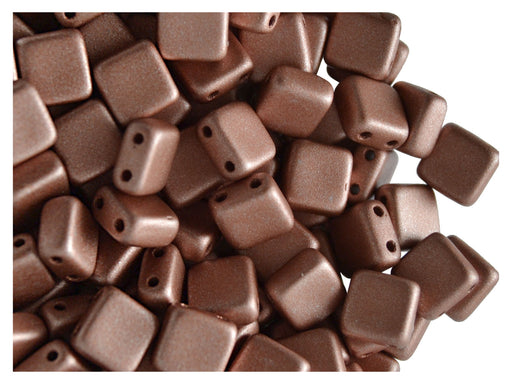 40 pcs 2-hole Tile Pressed Beads, 6x6x3mm, Terra Metallic Rosaline Matte, Czech Glass