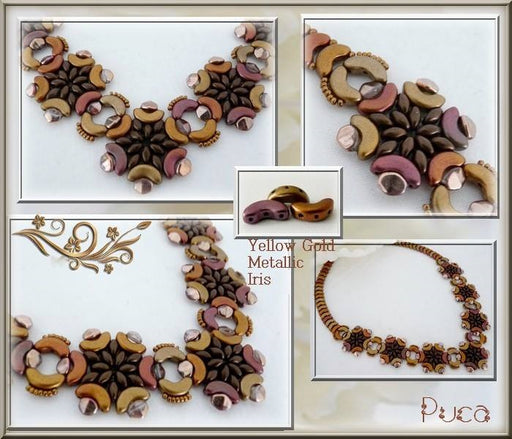 25 pcs Arcos® Par Puca® 3-hole Beads, 5x10mm, Opaque Mix Amethyst Gold Ceramic Look, Czech Glass