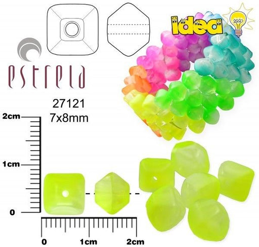 20 pcs Lucerna NEON Beads, 7x8mm, Yellow, Czech Glass