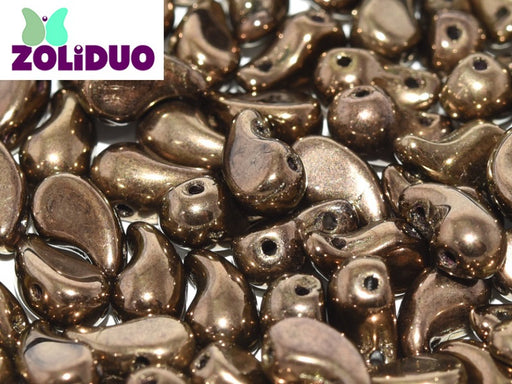 20 pcs 2-hole ZoliDuo® Left Pressed Beads, 5x8mm, Dark Gold Metallic, Czech Glass