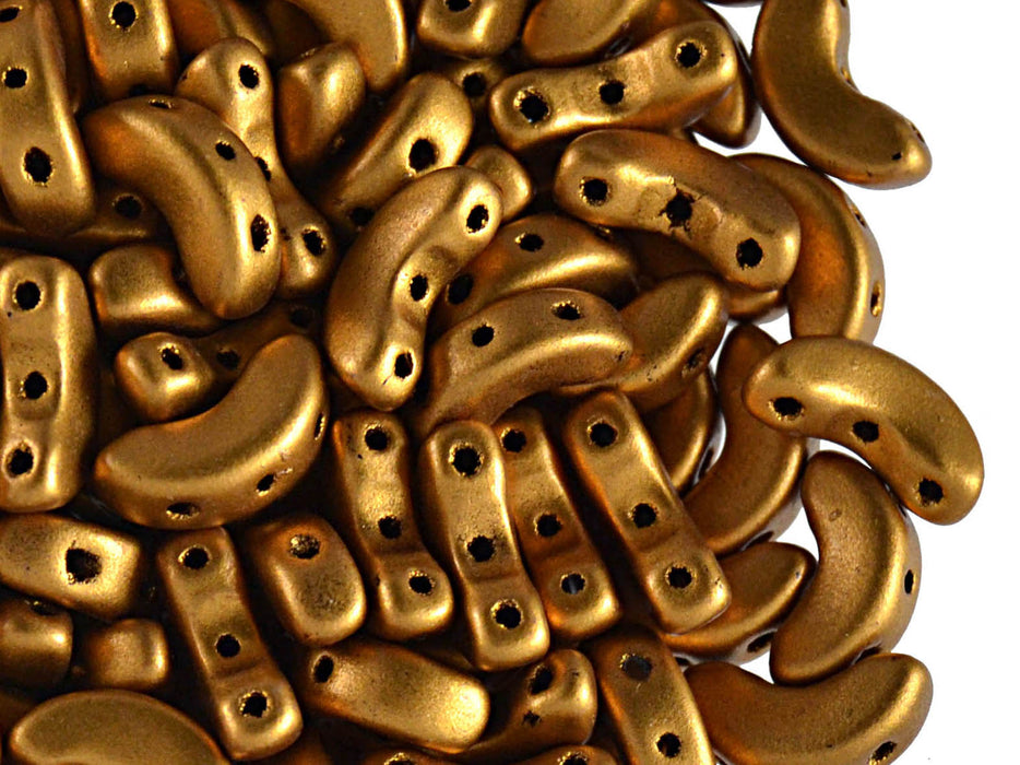 25 pcs Arcos® Par Puca® 3-hole Beads, 5x10mm, Bronze Gold Matte, Czech Glass