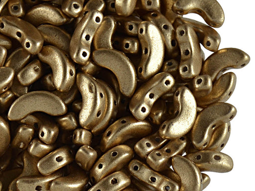 25 pcs Arcos® Par Puca® 3-hole Beads, 5x10mm, Light Gold Matte, Czech Glass
