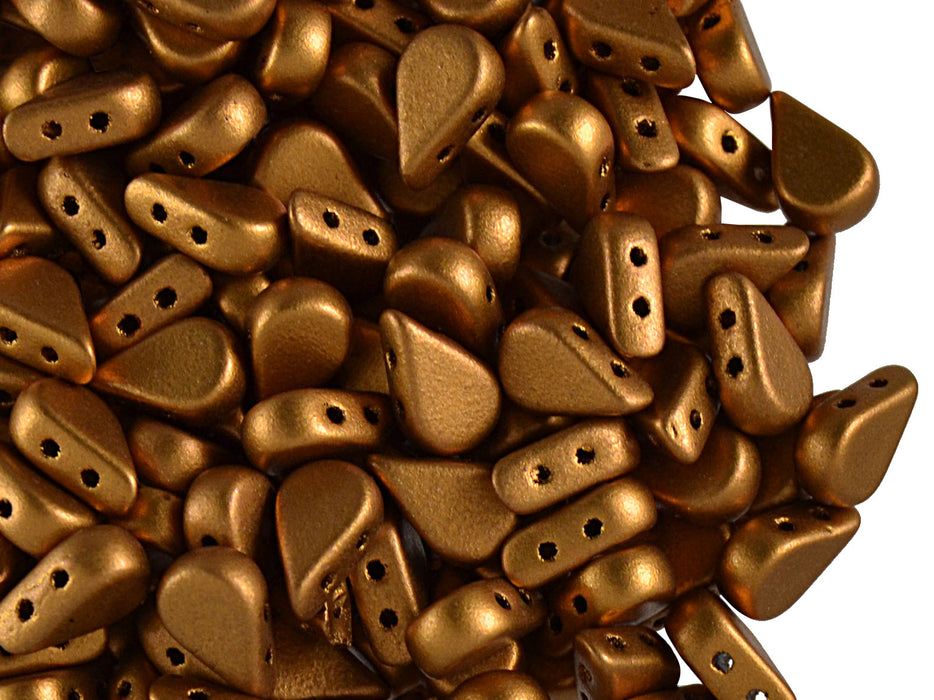 25 pcs Amos® Par Puca® 2-hole Beads, 5x8mm, Bronze Gold Matte, Czech Glass