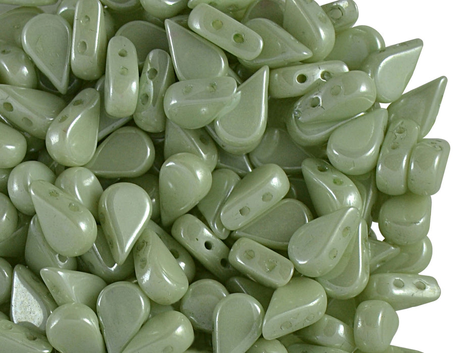 25 pcs Amos® Par Puca® 2-hole Beads, 5x8mm, Opaque Light Green Ceramic Look, Czech Glass