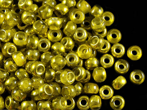 50 pcs Pony Pressed Beads, 2mm Hole, 5.5mm, Semi Apollo Yellow, Czech Glass