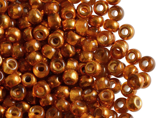 50 pcs Pony Pressed Beads, 2mm Hole, 5.5mm, Semi Apollo Orange, Czech Glass