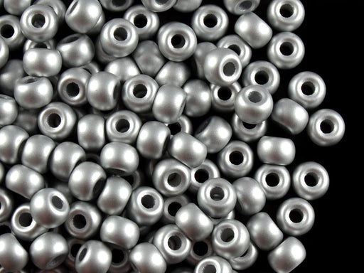 50 pcs Pony Pressed Beads, 2mm Hole, 5.5mm, Terra Metallic Silver, Czech Glass