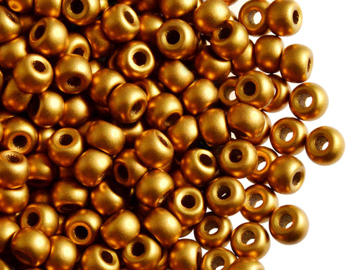 50 pcs Pony Pressed Beads, 2mm Hole, 5.5mm, Terra Metallic Bronze, Czech Glass
