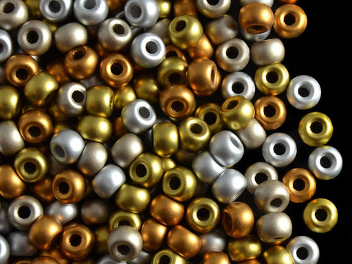 50 pcs Pony Pressed Beads, 2mm Hole, 5.5mm, Terra Metallic Mix, Czech Glass