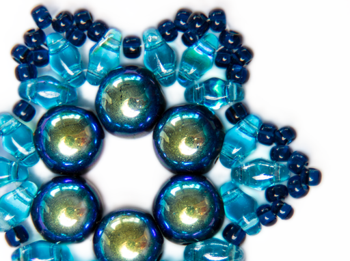 Exclusive DIY Beading Kit For Making Jewelry Snowflake 2pcs, Blue Green, Czech Glass Beads