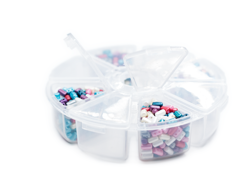 1 pc Plastic Bead Storage Box with 8 compartments and Separate Lids, Semi Transparent