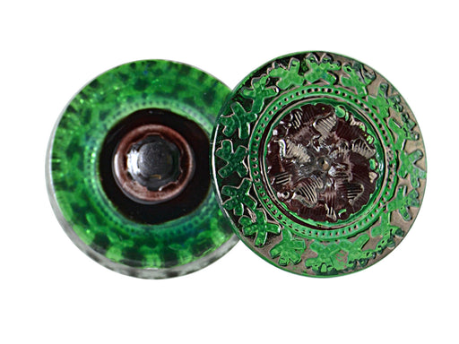 1 pc Hand Made Art Czech Glass Buttons, Size 10 (22.5mm), Green Platina
