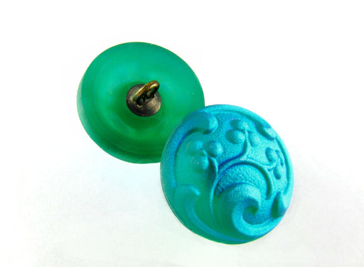 1 pc Czech Glass Button, Emerald Matte AB, Handmade Art, Size 8 (18mm)