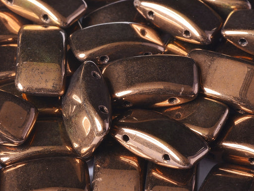 30 pcs 2-hole Carrier Pressed Beads, 9x17mm, Jet Bronze, Czech Glass