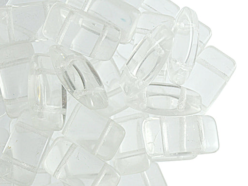 30 pcs Carrier Pressed Beads with Two Holes, 9x17mm, Czech Glass, Crystal