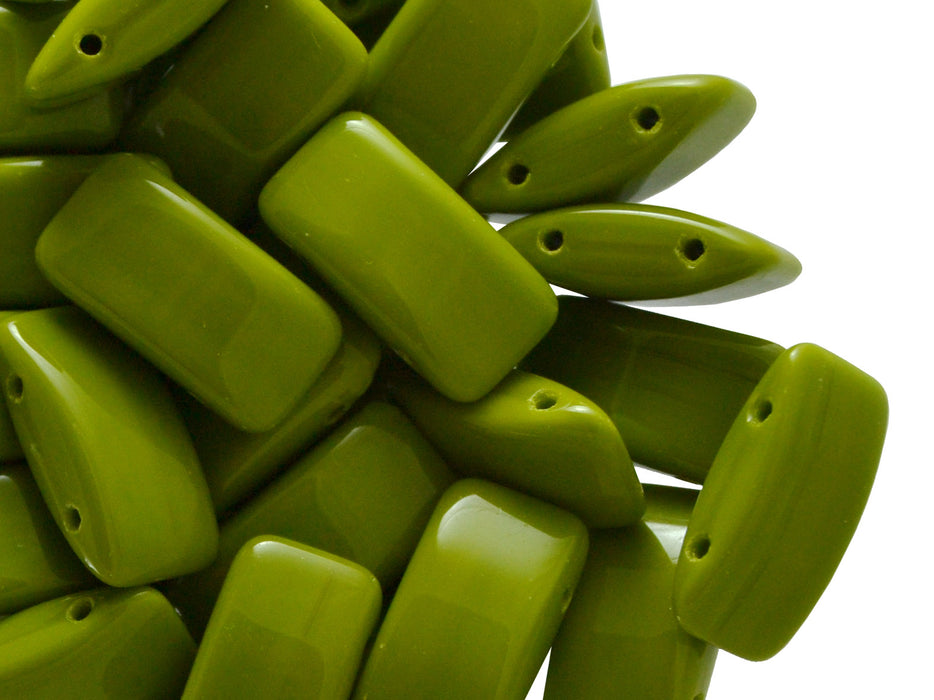30 pcs Carrier Pressed Beads with Two Holes, 9x17mm, Czech Glass, Lime Green Opaque
